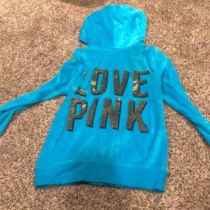 Love pink vs zip up velour sparkly jacket hoodie